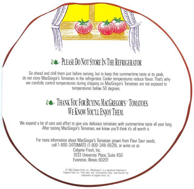 Tomato brochure 1-800-34TOMATO