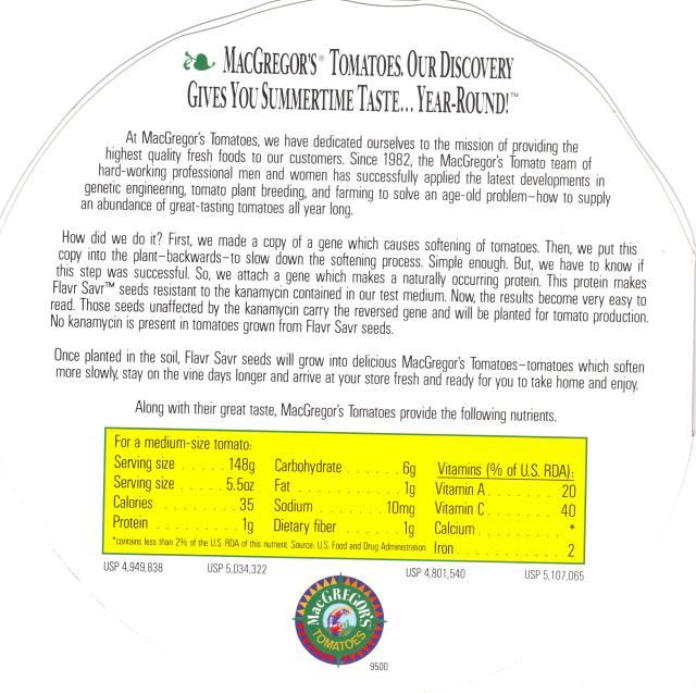 Tomato brochure kanamycin resistance